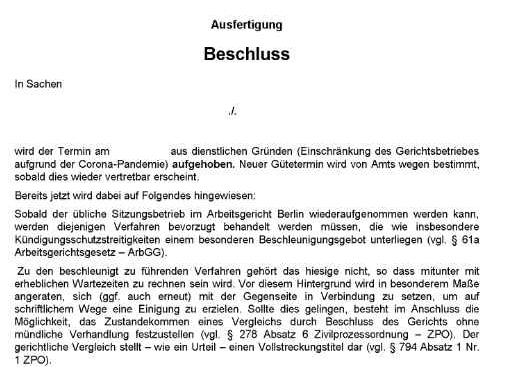 corona-Virus - Aufhebung der Verhandlungstermine beim Arbeitsgericht Berlin